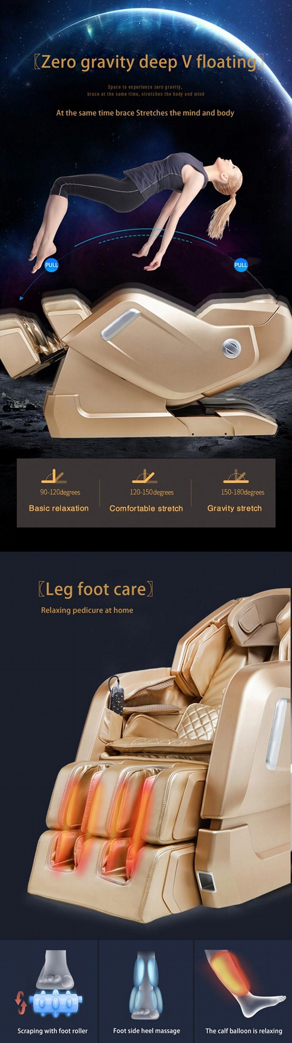 New Design Zero Gravity Virtual Reality Armchair Massage MS-878 14