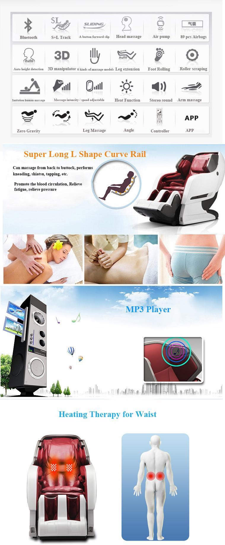 Luxury Full Body 3D Zero Gravity Leather Massage Chair  9