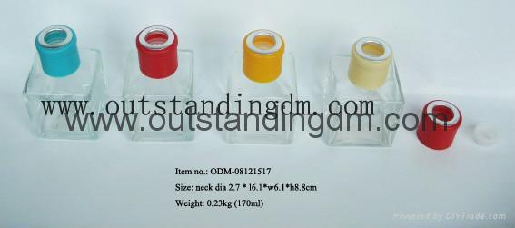 clear glass bottle with colorful cap