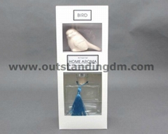 1 pc ceramic bird, 1pc transparent glass bottle with stopper & 1pc tassel