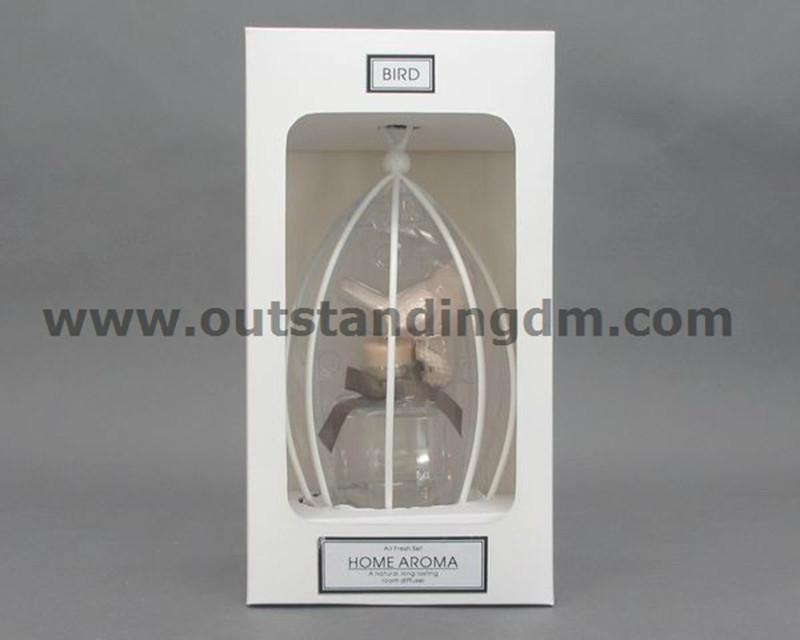 1 pc bird cage,1 pc ceramic bird, 1pc clear glass bottle in paper box