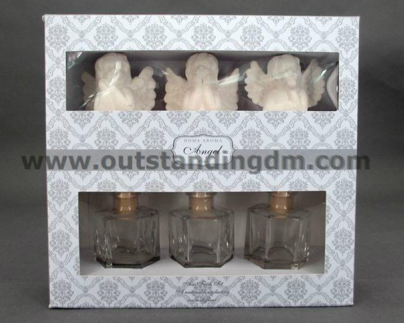 3 pcs ceramic angel,3pcs clear glass with stopper & ribbon
