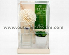 1pc sola flower, 1pc potted plant, some sticks in glass bottle