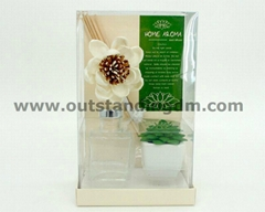 clear glass bottle with stopper & sticker, 1pc sola flower, 1pc potted plant, some sticks