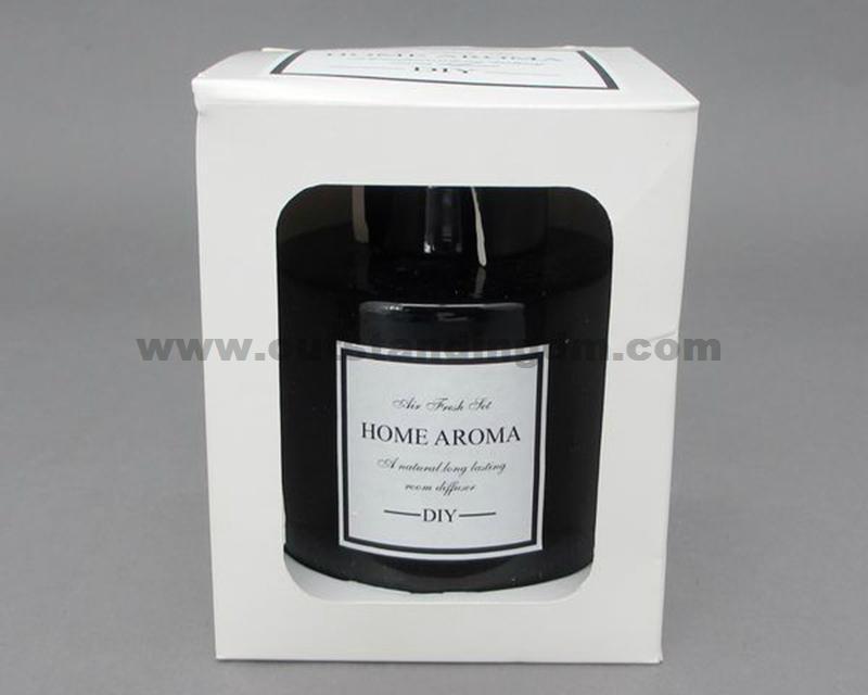 black glass bottle with aluminum cap
