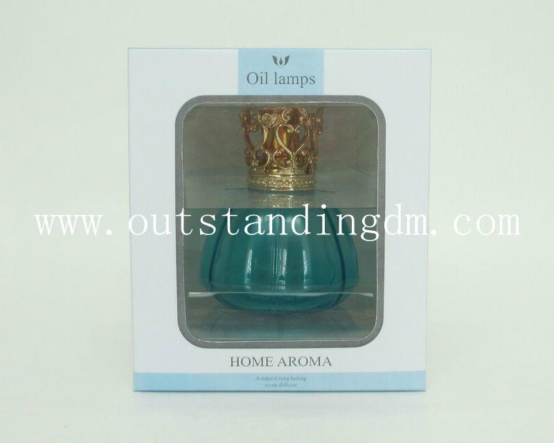 blue glass bottle without fragrance oil for oil lamp