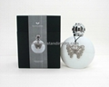 300ml white glass bottle with Butterfly charm for incense lamp