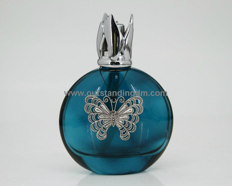 300ml blue glass bottle with Butterfly charm