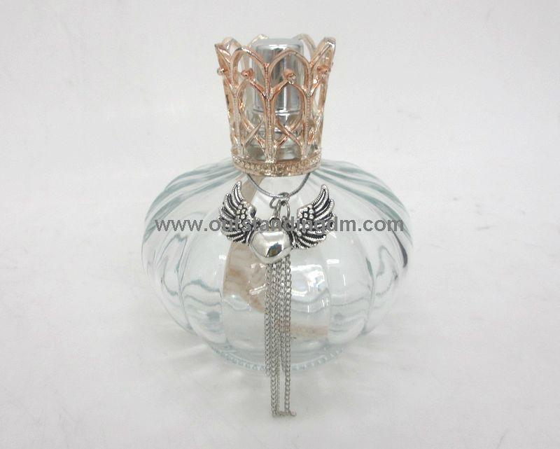 clear glass bottle (150ml bottle without fragrance oil) zinc alloy cap ,wick stone snuffer bayonet cap