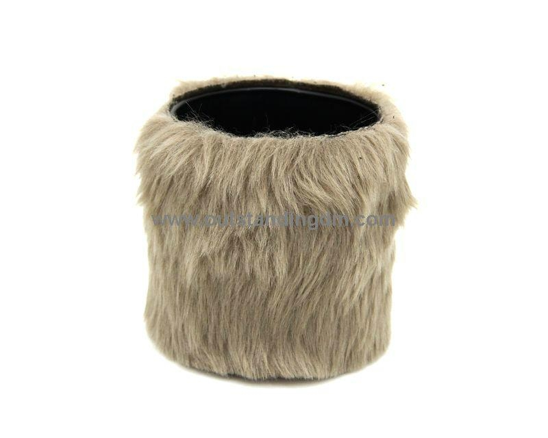 1pc  glass cup filled with wax,  with fake rabbit fur decoration(brown),wax weight 230g