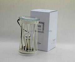 white metal fragrance oil burner , clear glass plate