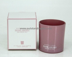 1pc solid pink glass candle, silver logo printing on glass cup, wax weight 135g