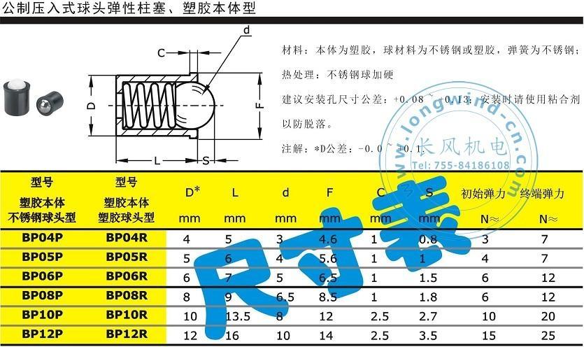 公制压入式球头弹性柱塞 3