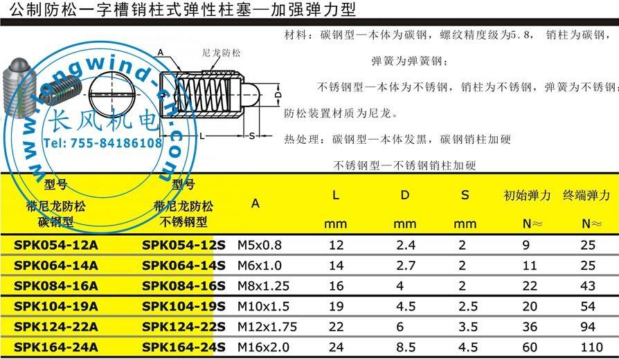 公制防松内六角销柱式弹性柱塞 4