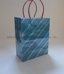medium printed hologram paper gift bags with paper handle for shopping and packi