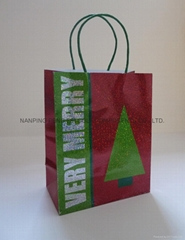 medium printed hologram paper handle bag for shopping or packing