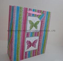 大號蝴蝶撒粉紙質購物禮品包裝手提袋