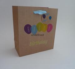 printed Brown kraft paper bag with glitter