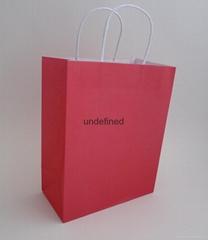 medium printed white kraft paper bag-hot pink