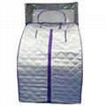 sauna with purple zipper