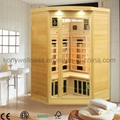 small corer far infrared sauna made of hemlock wood
