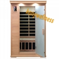 portable far infrared dry sauna room with sand glass door made in hemlock wood