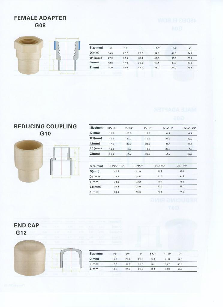 CPVC ASTM2846 熱水管件 4