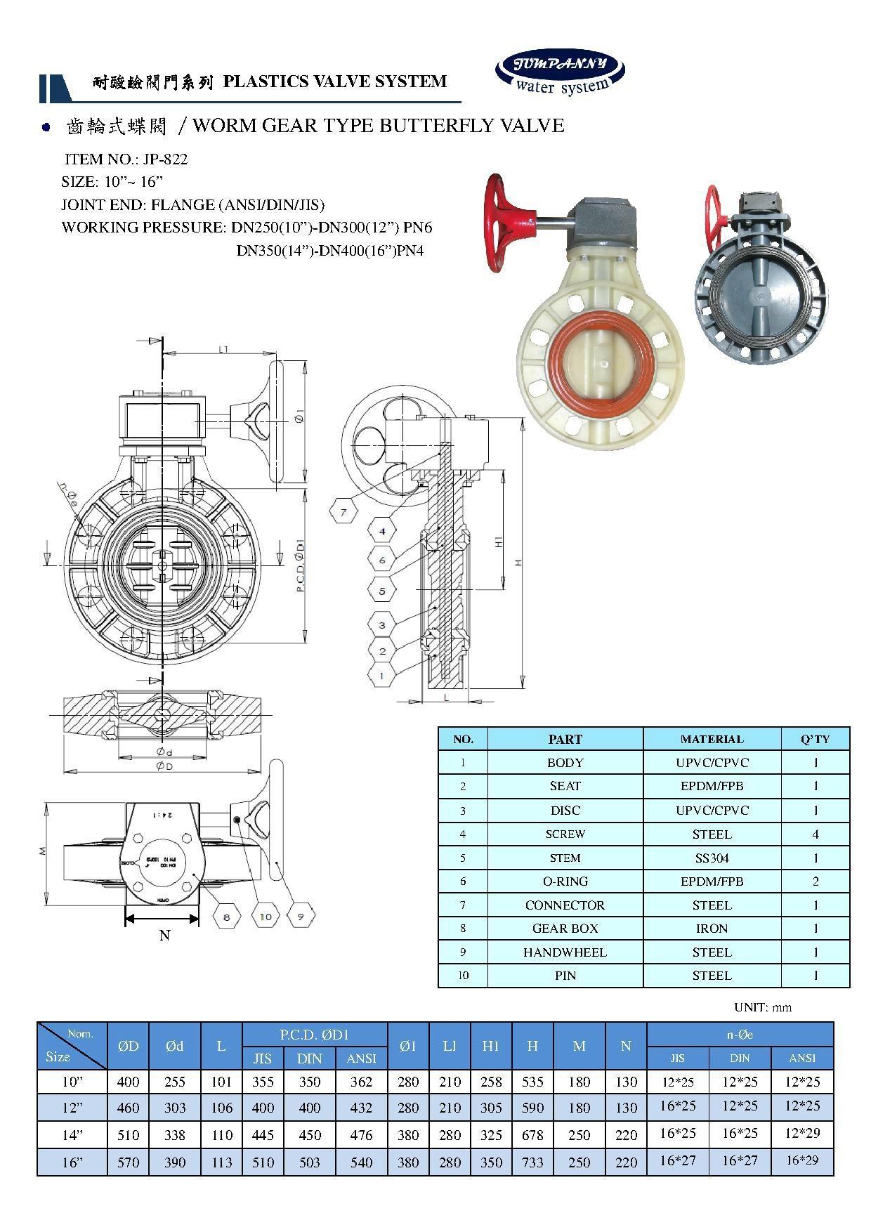 UPVC/CPVC BUTTERFLY VA  E(Chemical resistance) 3
