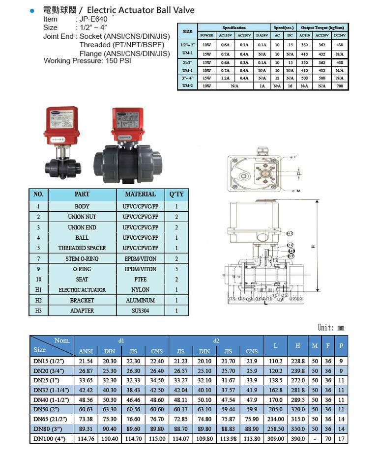 JUMPANNY耐酸硷电动执行器球阀 2