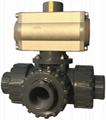 UPVC耐酸鹼氣動執行器三通閥