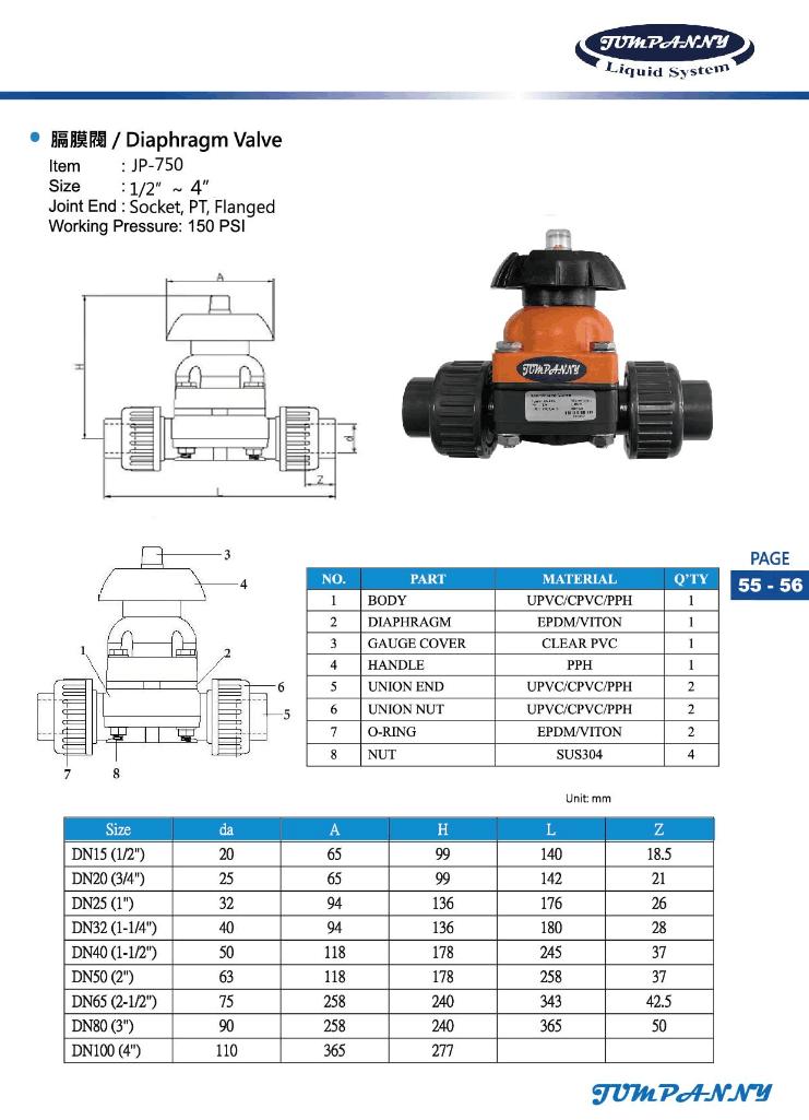 UPVC/CPVC/PVDF隔膜阀/膜片阀 3