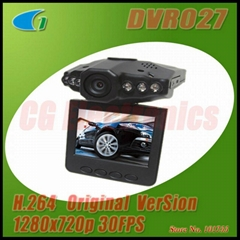 "DVR027 H.264 720P Car DVR Recorder w/ IR Night Vision & 2.5"" TFT LCD 270°Whirl"