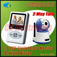 240RCBB 2.4G Wireless Baby Monitor with 2.4 inch LCD Receiver / 2-way Talk
