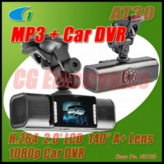 AT30 H.264 1080p 5MP Night Vision Car DVR w/MP3 player/Flashlight/Digital Zoom