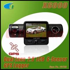 X6000 Dual Lens Car DVR w/GPS Logger/G-Sensor/2.0 TFT LCD/120 Degrees Back Lens