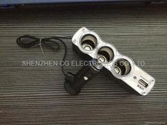 3 Way Car Cigarette Splitter Triple socket Switch DC 12V/24V USB Charger output