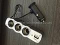 3 Way Car Cigarette Splitter Triple socket Switch DC 12V/24V USB Charger output  4