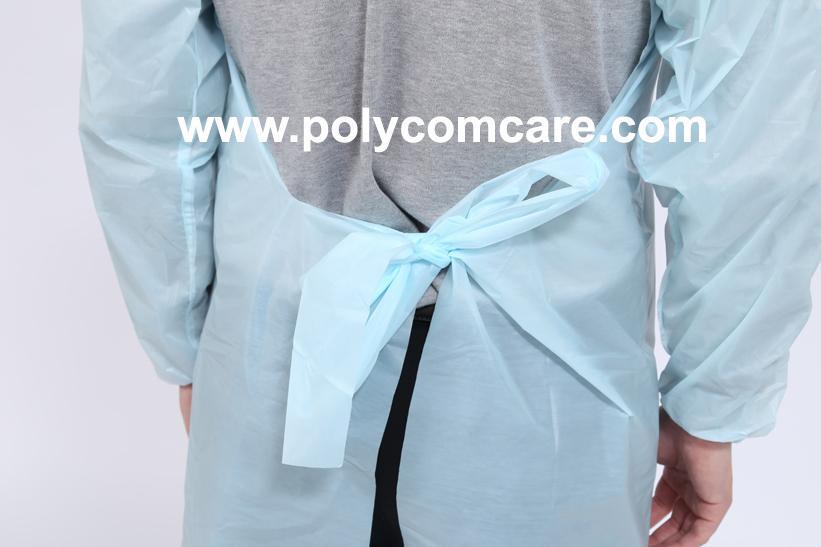 Polyethylene Thumb Loop Style  Isolation Gown 4