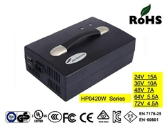 HP0420CF 36V10A  battery chargers with UL,cUL,TUV-GS,CE,PSE for golf car
