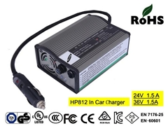HP812  24V/36V 1.5A  in car battery charger with CE for mobility scooter
