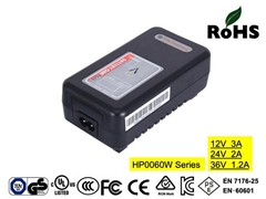 HP0060WA 12V3A Lead acid battery charger with CE,UL,FCC,cUL,TUV-GS, TUV-PSE,SAA