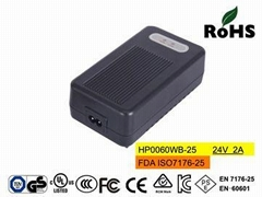 HP0060WB-25 24V2A Lead acid charger for wheelchair cUL,TUV, CE, FCC,ISO7176-25
