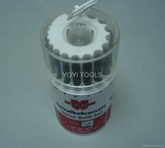 19pcs drill bit in plastic round box