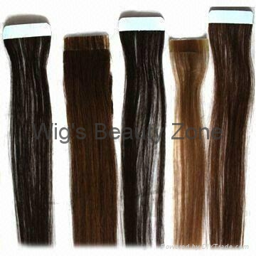 PU human hair wefts 1