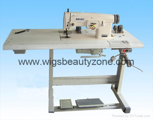 Hair machine together with the wefts 1