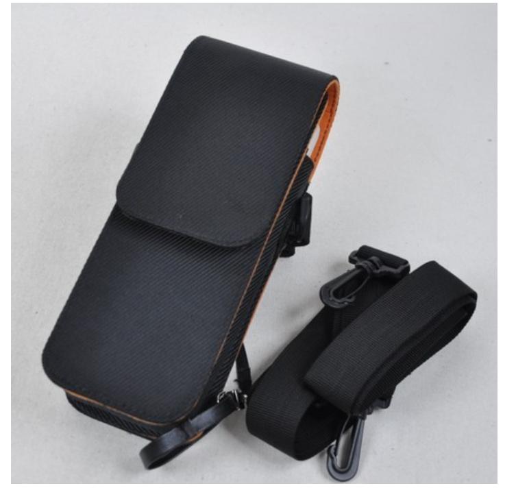 ¥15.00 成交2109个 手持POS机保护套 源头工厂皮具生产肩带背夹挂腰手持终端机PDA套 东莞市