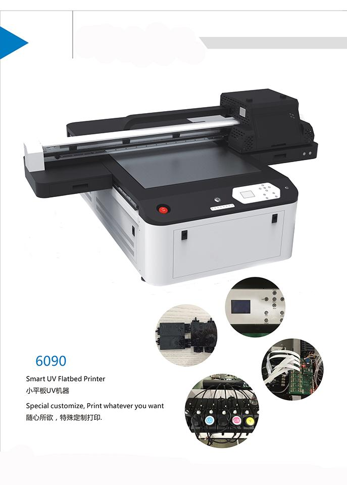 Fully automatic 6090 uv plate printer printing color, glass metal plastic 3