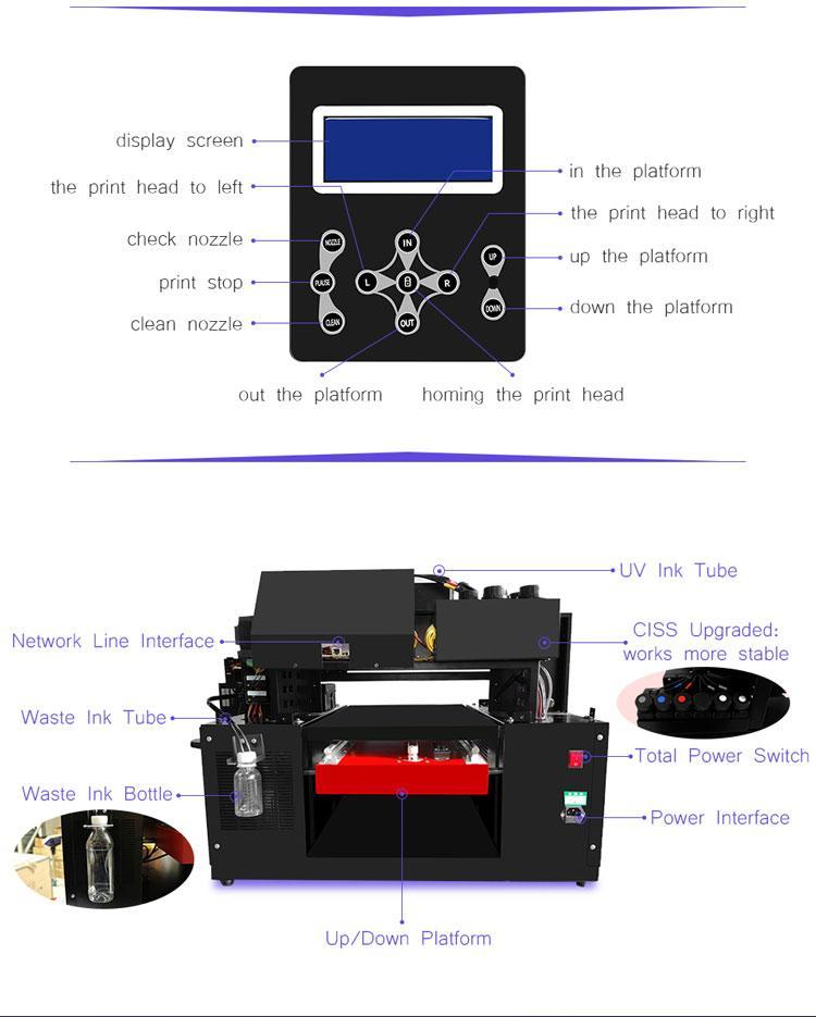 適用於Epson DX9工業A3+ UV打印機3060的移動蓋筆瓶印刷機 6