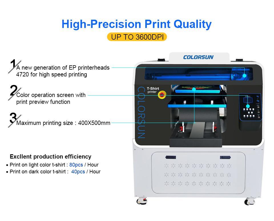 Colorsun快速8色自动A3 +大小T恤平板打印机4720 DTG 3