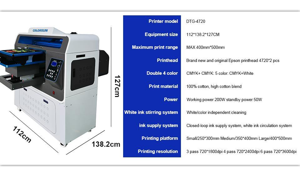 Colorsun快速8色自动A3 +大小T恤平板打印机4720 DTG 4